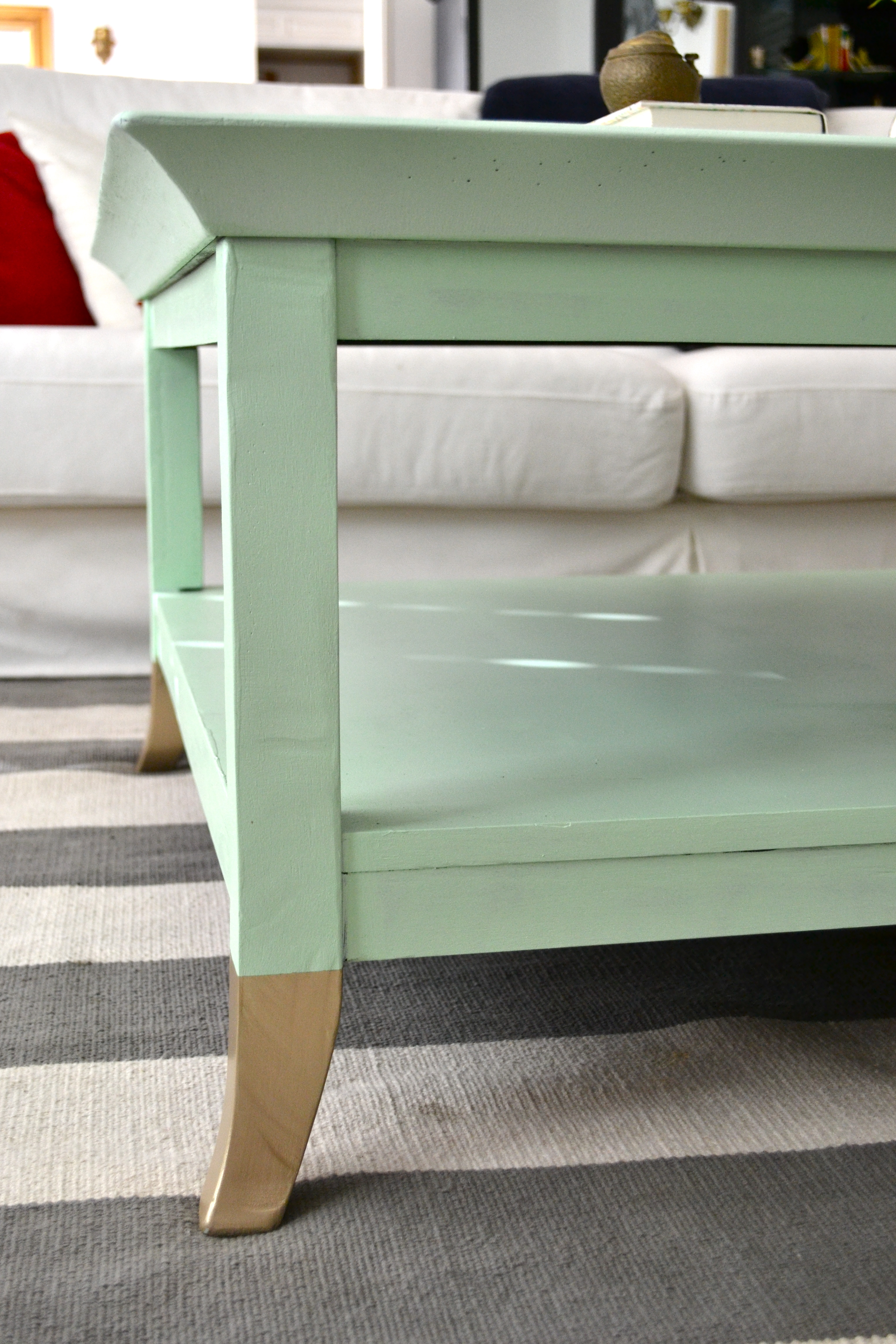 Mint Coffee Table with Gold Feet A Makeover Little Bits of