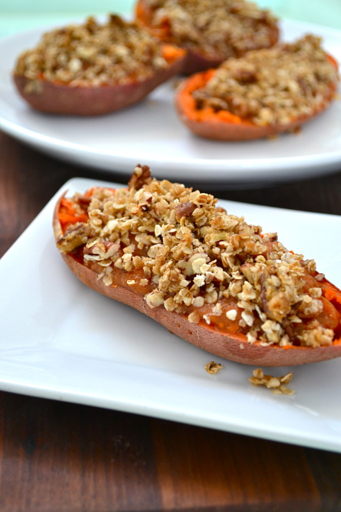 Twice Baked Yams with Oat Streusel Topping
