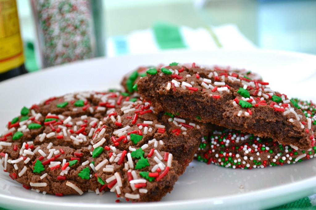 Chocolate Crinkle Sprinkle Cookies