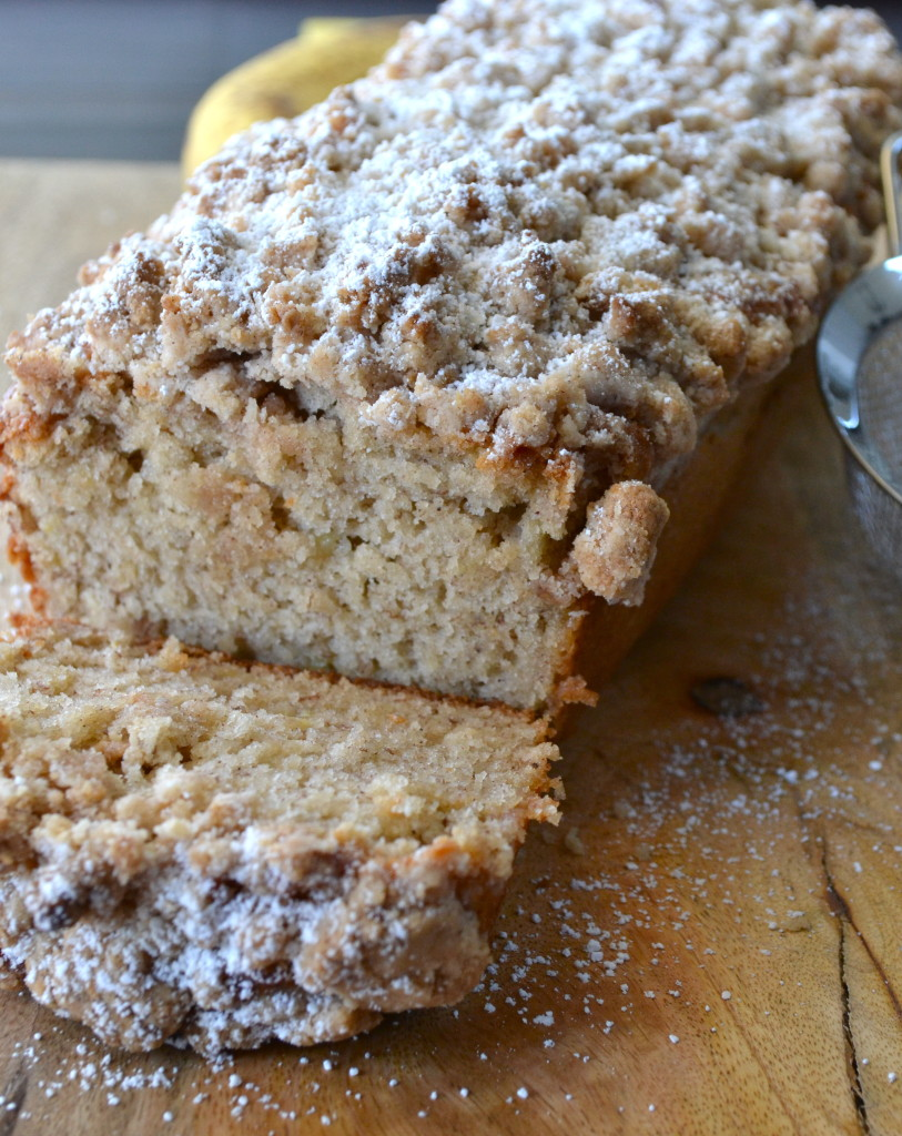 This Banana Bread with Crumb Topping is going to hit the spot! Perfect for when your bananas are about too ripe to eat alone!
