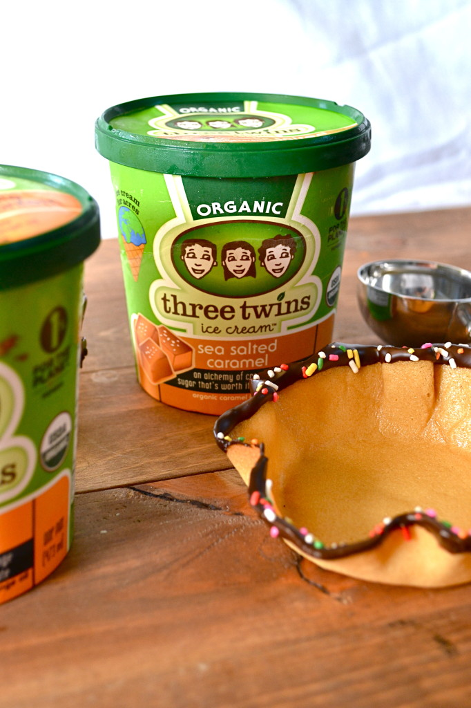Homemade Sugar Cone Bowls & Three Twins Ice Cream