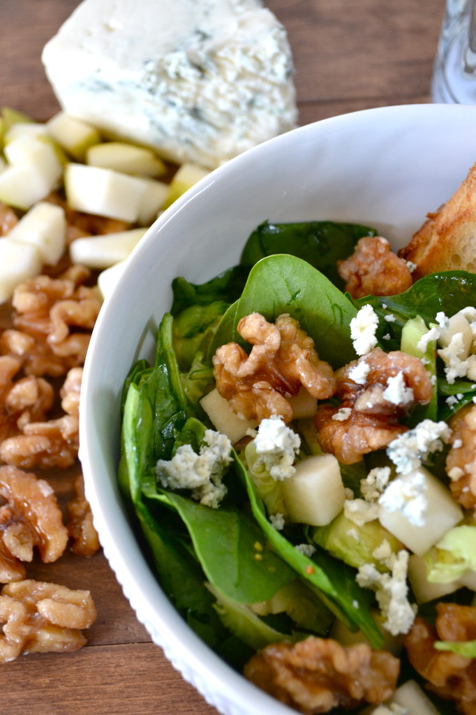 Shaved Brussel and Spinach Salad with Apple Cider Vinaigrette