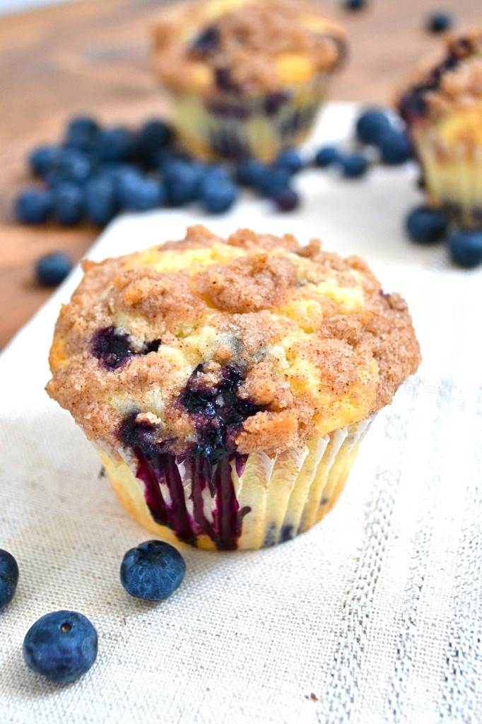 blueberry muffin with cinnamon streusel
