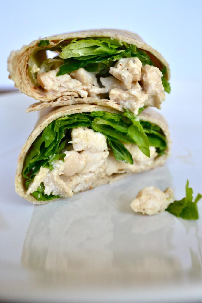 Greek Yogurt Caesar Chicken Wrap