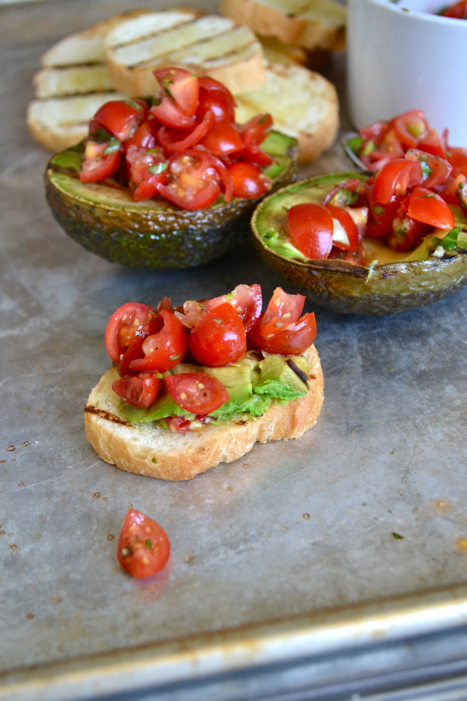 Bruschetta Stuffed Grilled Avocado