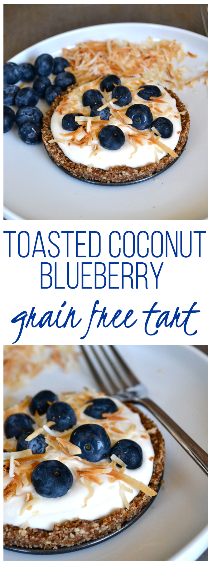 Raw & Grain Free Toasted Coconut & Blueberry Tart