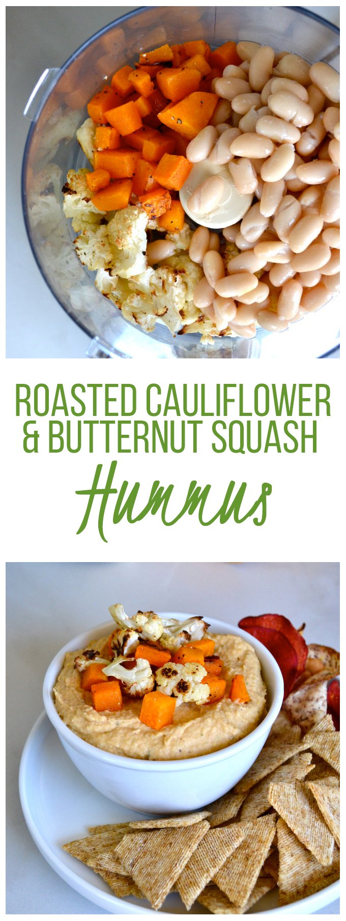 Roasted Cauliflower and Butternut Squash Hummus - a healthy and flavorful roasted dip!