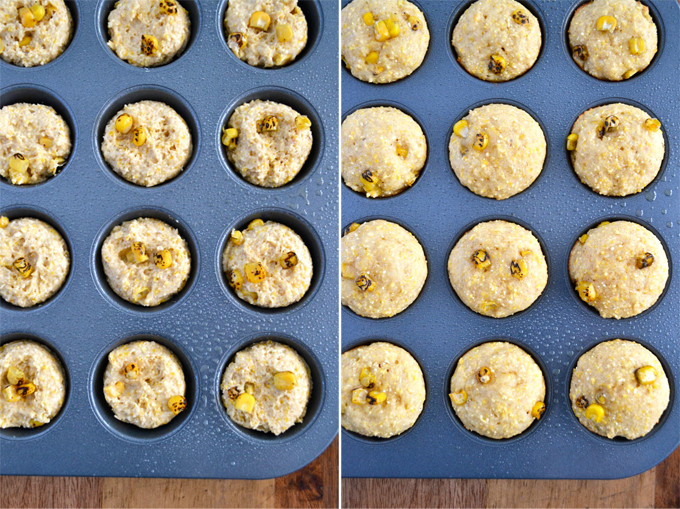 Roasted Cornbread Mini Muffins - no oil or refined sugars!