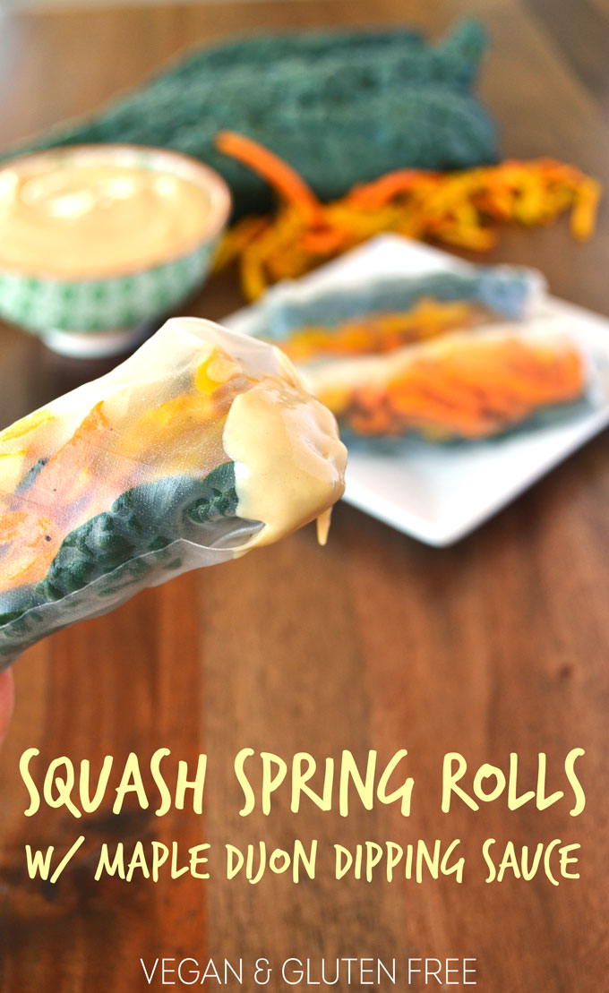 Squash Spring Rolls with Maple Dijon Dipping Sauce! Vegan, gluten free, easy and delicious!