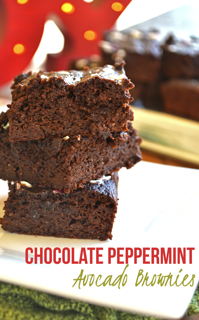 Chocolate Peppermint Avocado Brownies! Such clean ingredients and 70 calories a brownie!