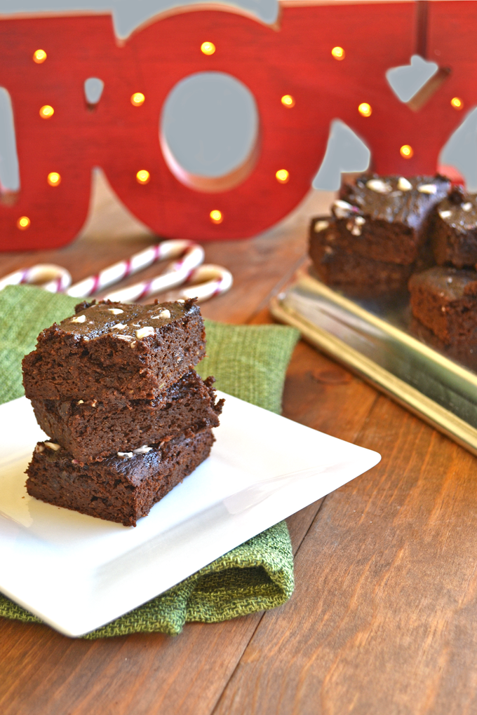 Chocolate Peppermint Avocado Brownies - whole wheat flour, avocado & cacao powder make these superfood brownies! Also topped with some organic candy canes :)