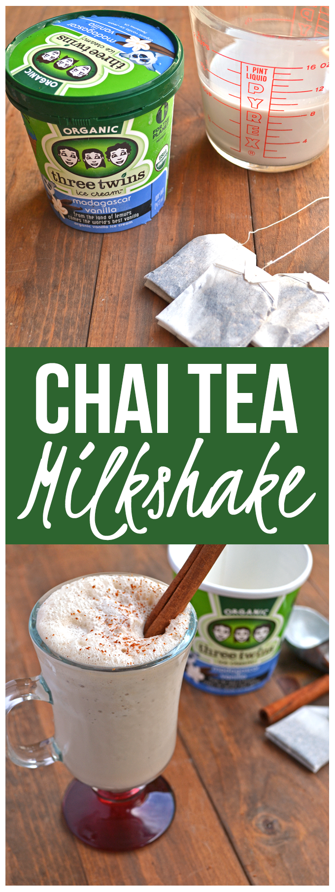 Chai Tea Milkshake - A simple twist on a a spicy and yummy drink! Made with Three Twins Organic Ice Cream!