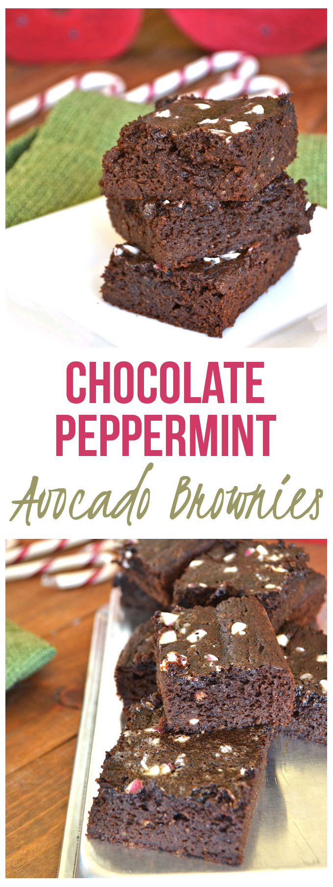 Chocolate Peppermint Avocado Brownies - whole wheat flour, avocado & cacao powder make these superfood brownies! Clean Ingredients and still the perfect mix of fudgey and cakey!