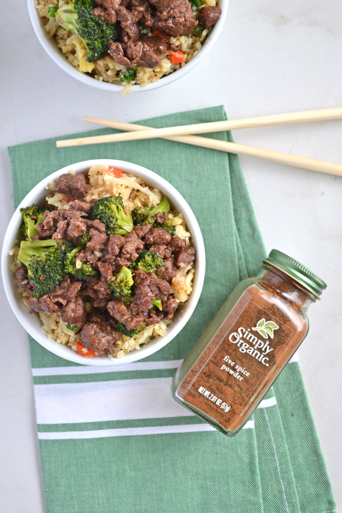 When you are craving chinese food on Whole30 this Five Spice Beef & Broccoli hits the spot! Simple to throw together, and full of flavor thanks to Simply Organics 5 Spice Powder! Paleo// healthy