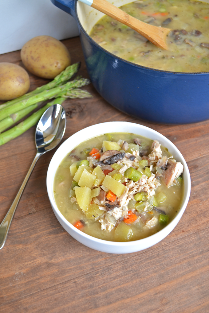 Chicken Pot Pie Soup! Whole30 approved and paleo! Asparagus instead of peas and you'll never guess what makes it so creamy but still non-dairy!