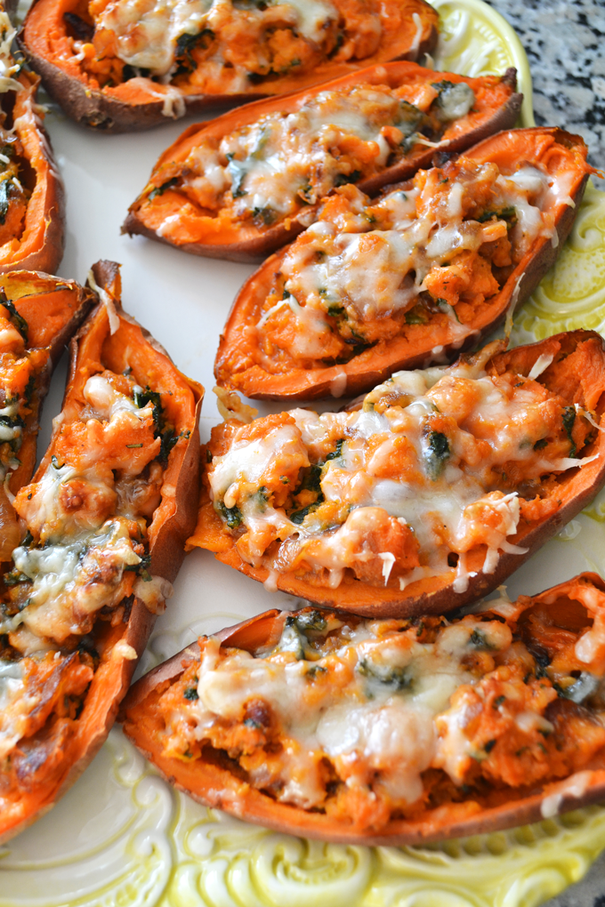 Caramelized Onion Kale Twice Baked Sweet Potatoes Little Bits Of