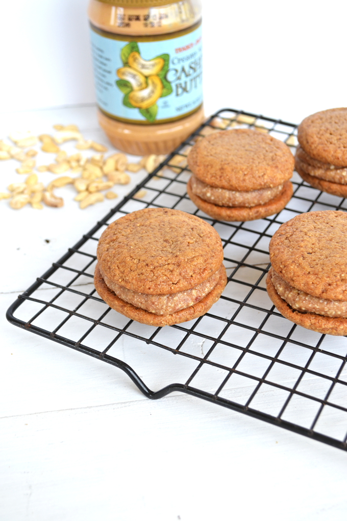 These Cashew Cookies with Salted Date Caramel Filling are Paleo, Grain Free, Dairy Free and SO DELICIOUS!