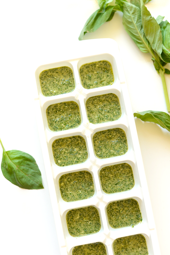 Creamy Parmesan Pesto Cubes - Part of a healthy green recipe round up!