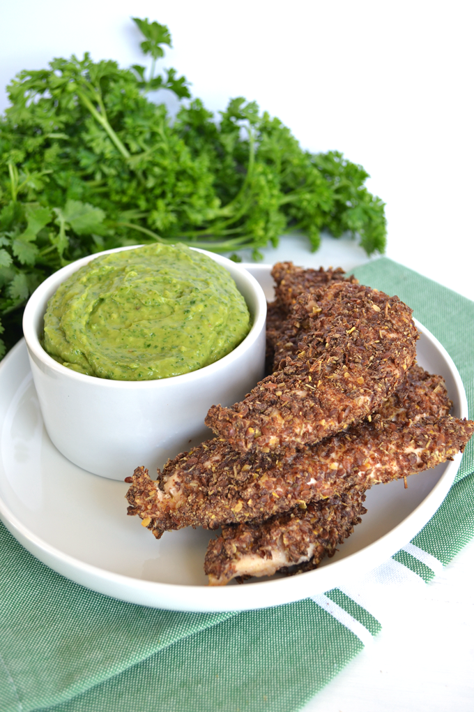Garden Herb Crusted Chicken Tenders - Two Moms in The Raw Garden Herb crackers crushed for the coating! Paleo & Whole 30!