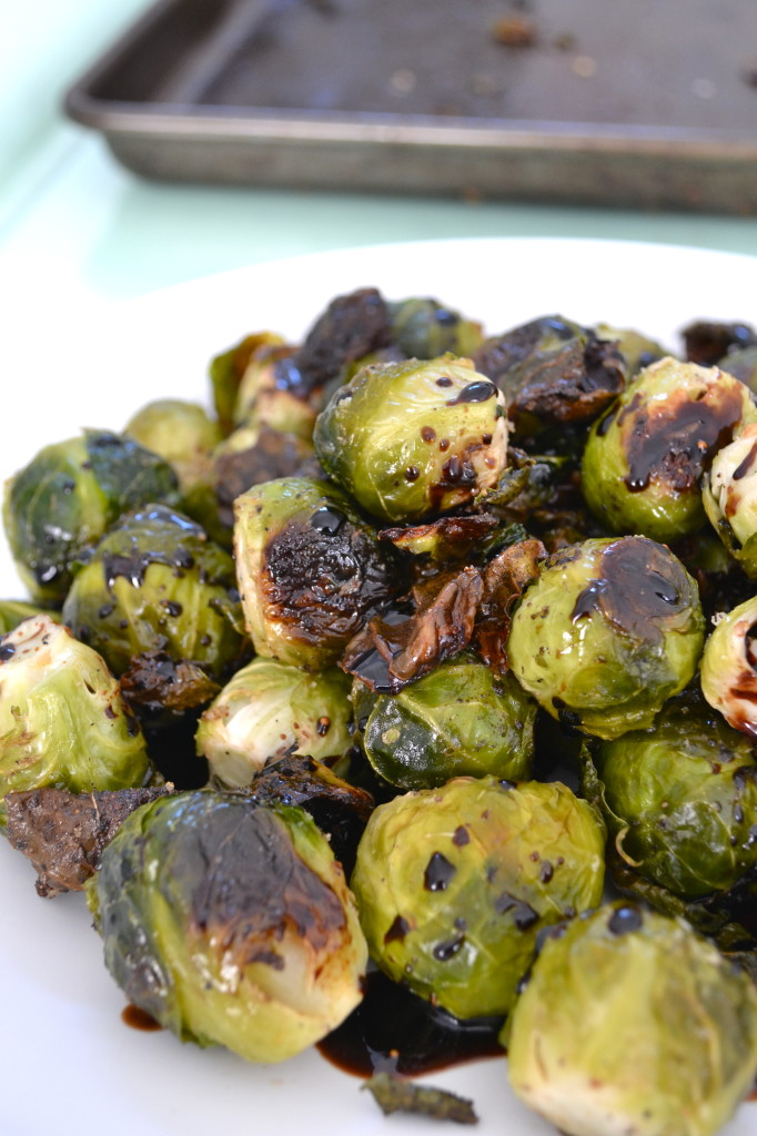 Roasted Brussels Sprouts with Fig Balsamic Dressing! This is a list for tons of healthy GREEN recipes!