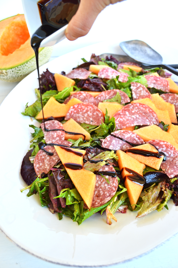 Cantaloupe Salami Salad W Balsamic Glaze Little Bits Of