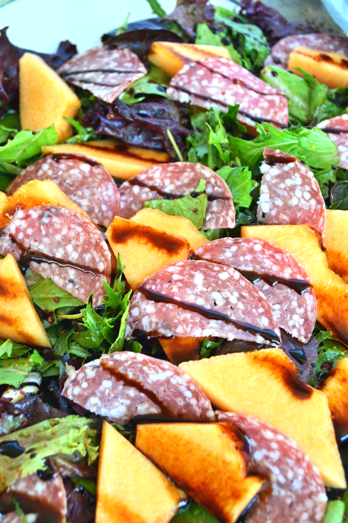 This Cantaloupe & Salami Salad with Balsamic Glaze is refreshing and perfect for spring and summer!