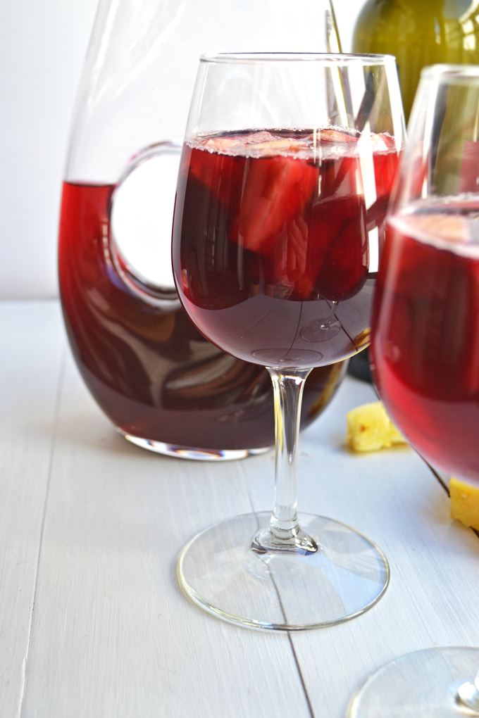 Passion Tea Sangria! A simple mix of passion tea, red wine, rum and ginger beer! Perfect spring or summer cocktail!