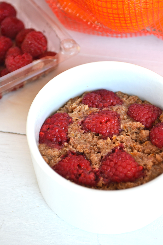 This Raspberry Orange Coffee cake is gluten free, dairy free and cooks in the microwave! It is the perfect amount for two people to share!