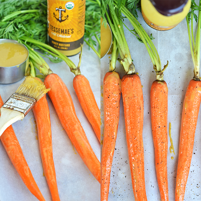These Roasted Honey Mustard Carrots are a quick and easy side dish that is paleo and so tasty!!