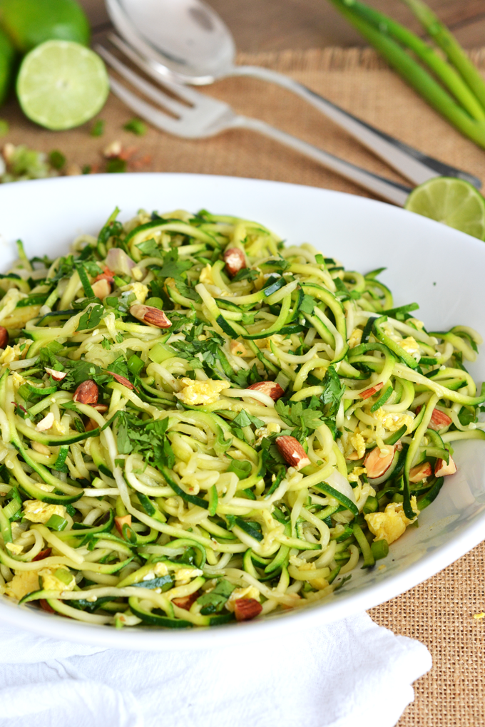 This Zucchini Pad Thai is a perfect Whole30 meal! No added sugar, grain-free and full of flavor!