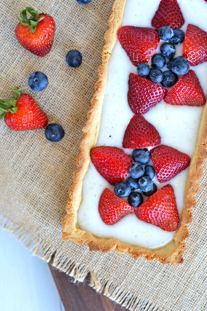 This Berry Tart with Grain Free Vanilla Almond Crust is a perfect summer dessert!