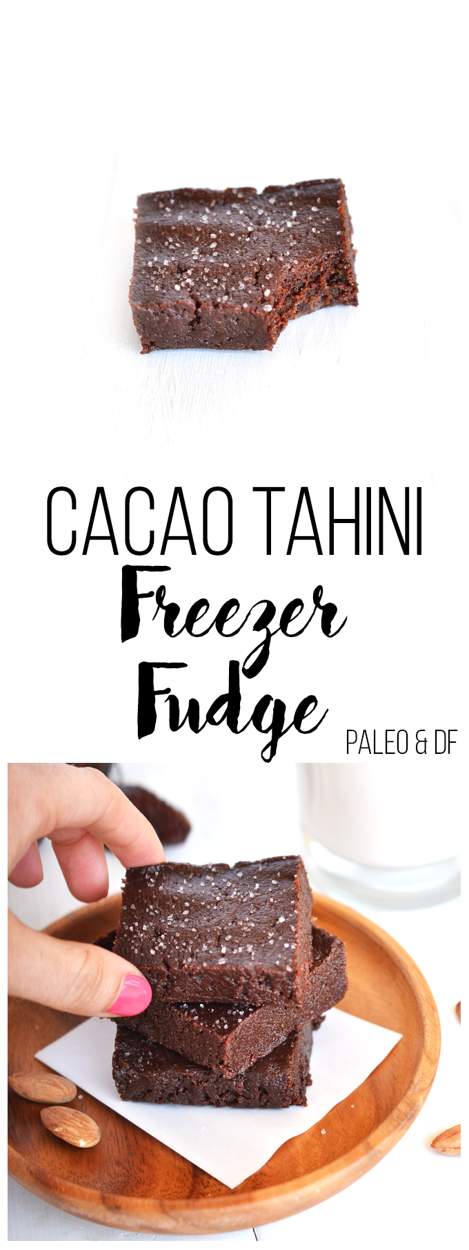 This Cacao Tahini Freezer Fudge has only 5 ingredients and is beyond simple to make! Paleo, gluten-free, dairy-free and vegan treat - perfect for a healthy snack or dessert!