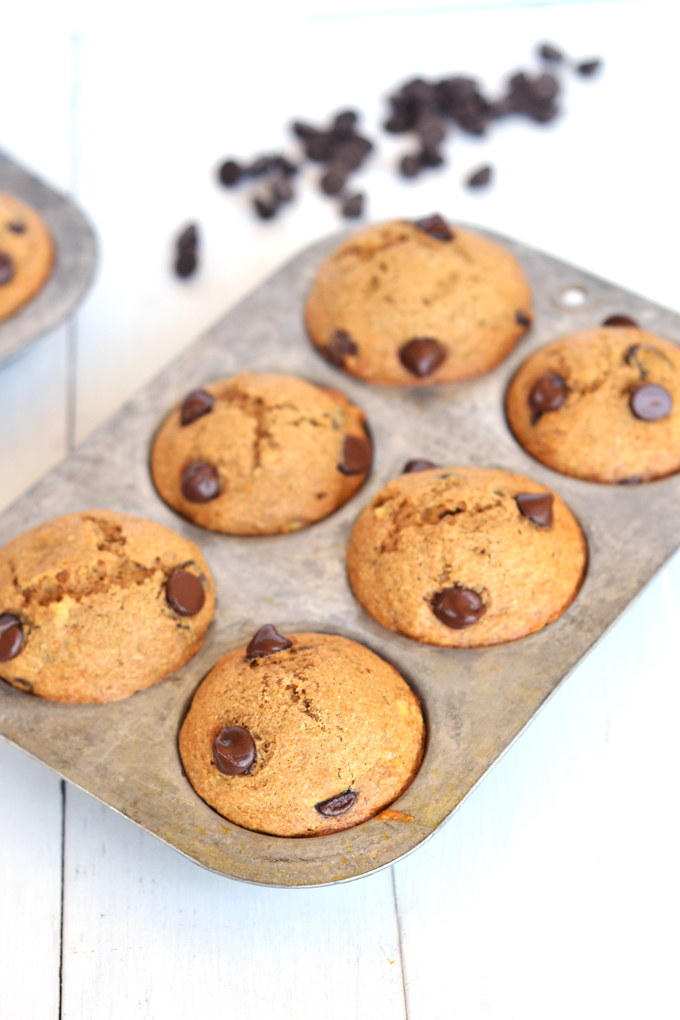 These Whole Wheat Banana Chocolate Chip Muffins are refined sugar free, easy to make and a wholesome snack!