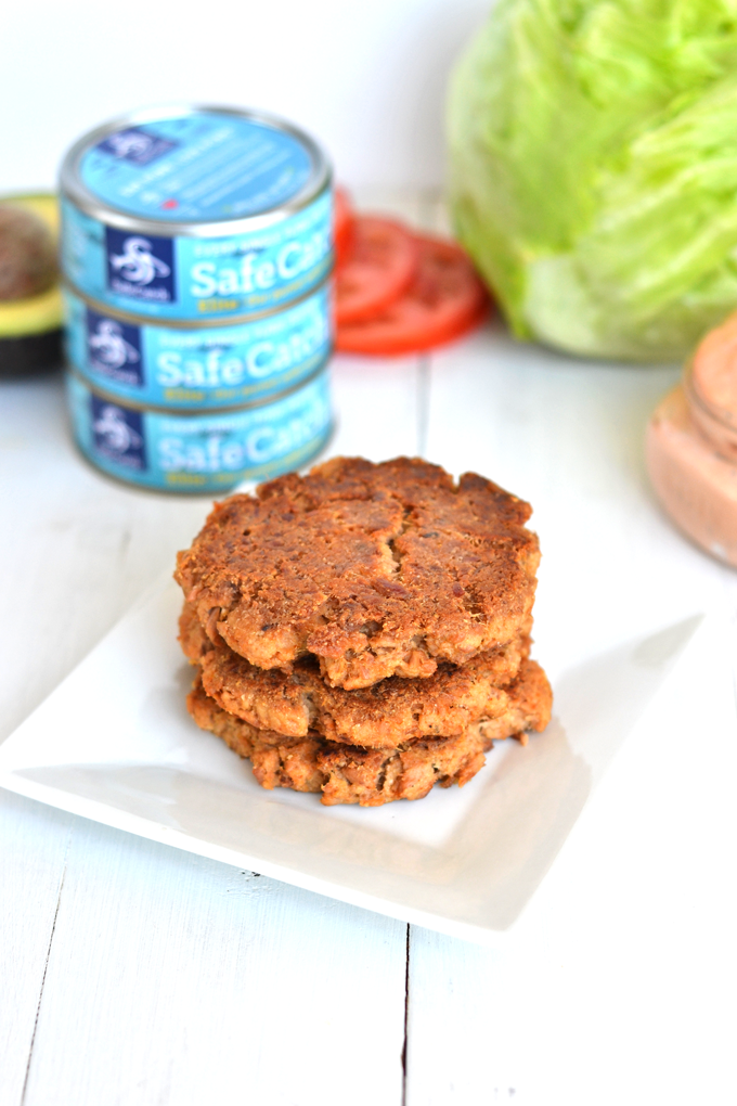 These California Tuna Burgers are easy to throw together and a great way to get lots of protein and few calories. This Safe Catch Tuna is the lowest mercury tuna you can find - perfect for athletes, kids and women who are pregnant!