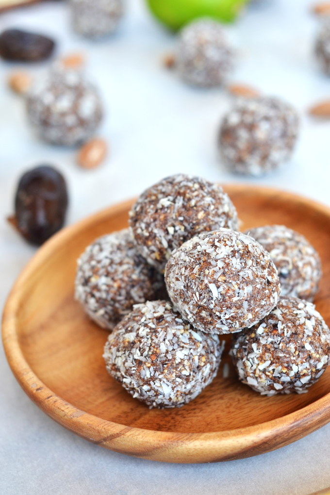 Cherry Lime Energy Balls - a simple mix of dates, dried cherries, almonds and lime make for a perfect snack on the go!