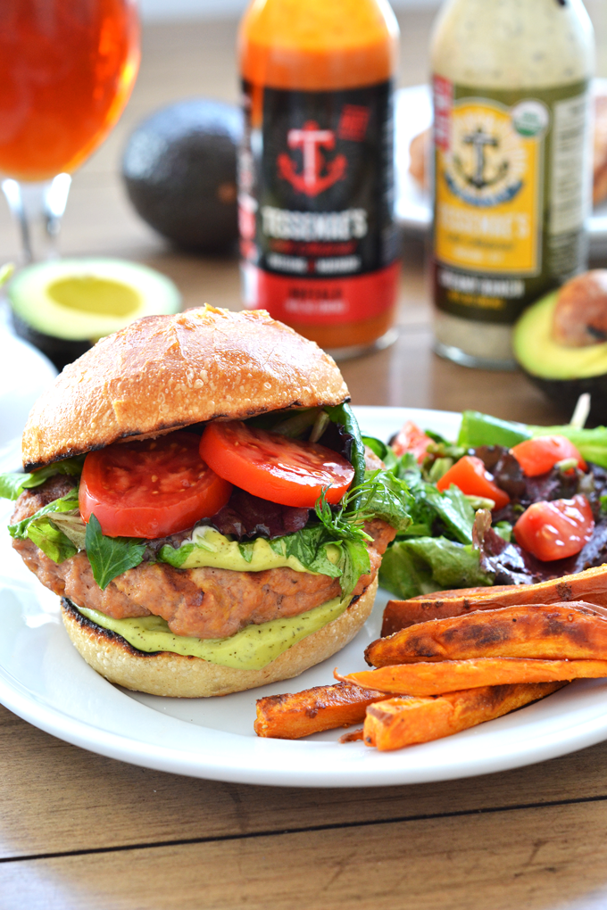 These Buffalo Turkey Burgers with Avocado Ranch Sauce are Paleo & Whole30 approved! Perfect for game day or a weeknight dinner!