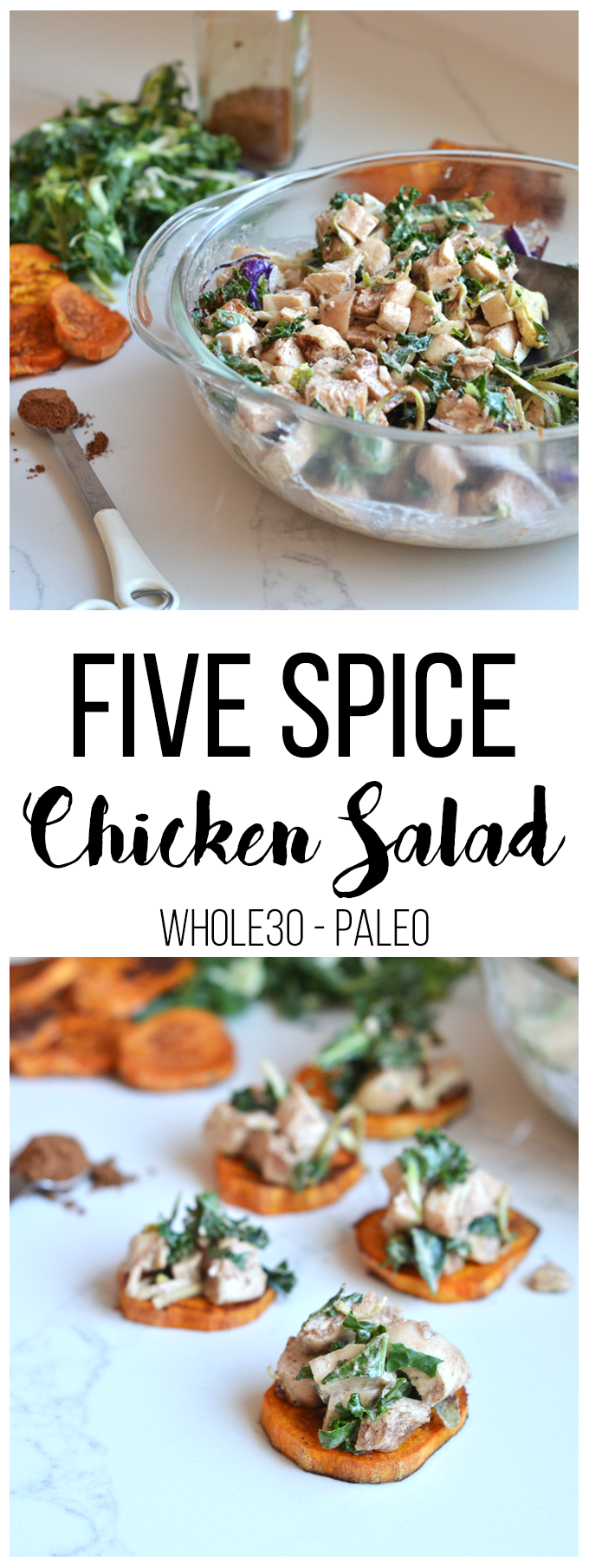 This Five Spice Chicken Salad is the perfect whole30 lunch option you can prep ahead of time and throw on a salad, eat by itself or on sweet potato rounds! Healthy and delicious!