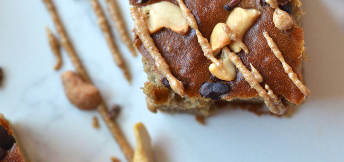 Cashew Butter Banana Bread Bars are grain free, paleo and have no added sugar! You will be shocked at how delicious and clean they are!