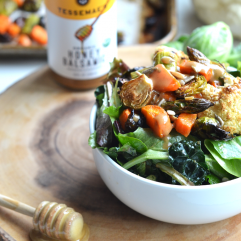 This Honey Balsamic Roasted Veggie Salad is a perfect way to get those vegetables in while tasting delicious! It is a paleo option that is vegetarian but you can easily add meat to make it a full meal!