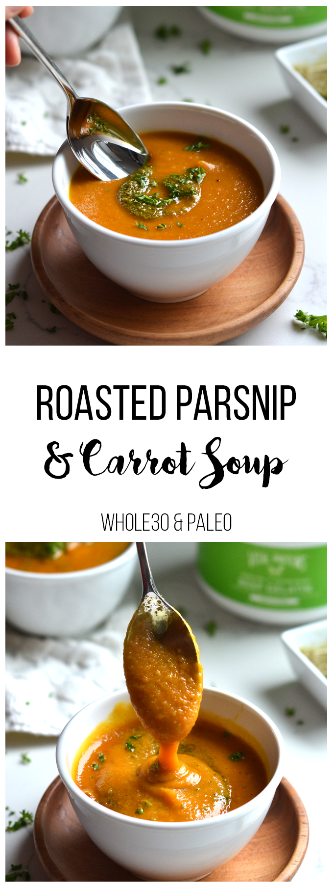 This Roasted Parnsip & Carrot Soup is SO simple to make with few ingredients but so full of flavor! Perfect Paleo & Whole30 meal.