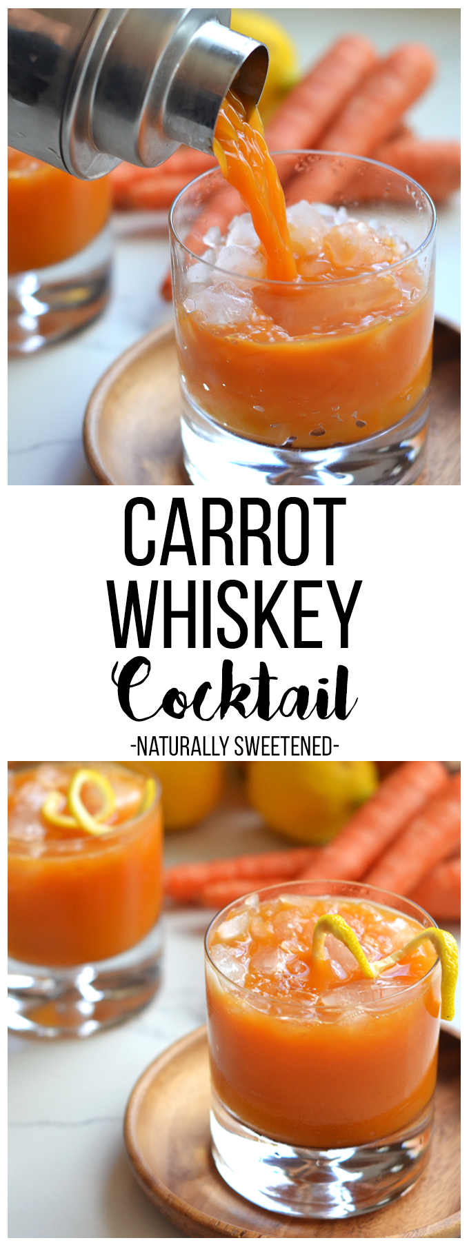 This Carrot Whiskey Cocktail is the perfect way to get your Vitamin A in while enjoying a tipsy drink!