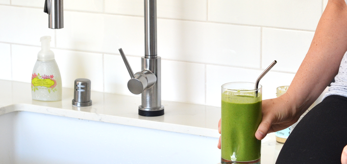 This Cinnamon Tahini Green Smoothie is simple and the perfect way to start the day with greens, fruit and healthy fat!