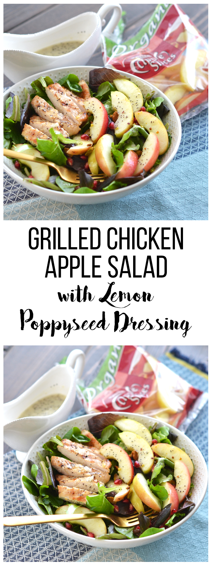 This Grilled Chicken Apple Salad with Lemon Poppyseed Dressing is the perfect spring salad for busy weeknights or weekends! Crunch Pak apples make this super simple to throw together!