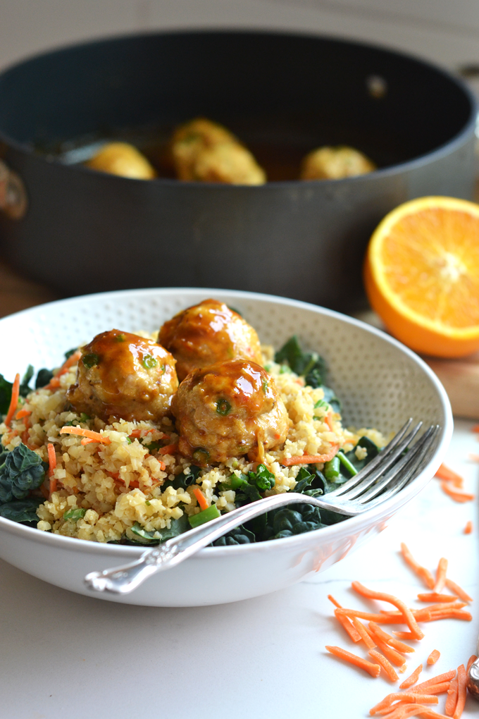 These Orange Chicken Meatballs are perfect for a quick weeknight meal on top of cauliflower fried rice!