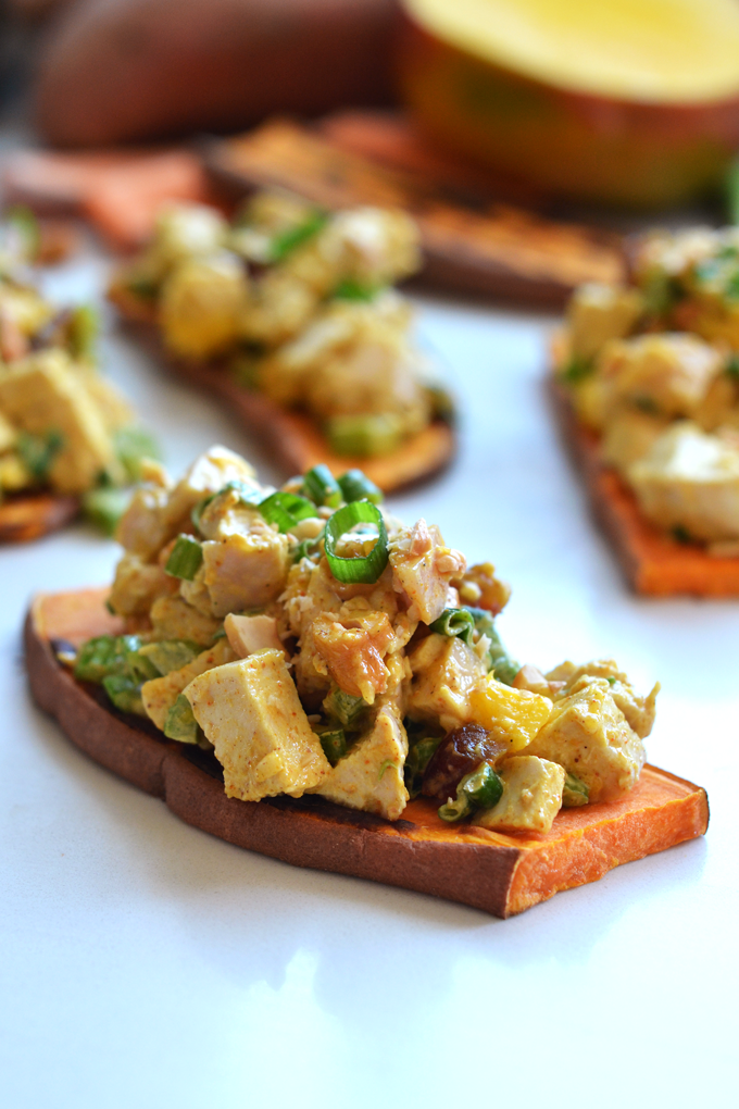 This Cashew Curry Chicken Salad on Sweet Potato Toast is a tasty Paleo and Whole30 lunch that everyone will love!