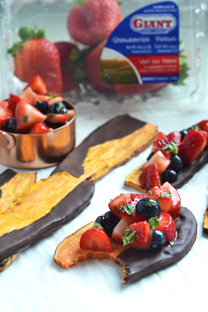 This Chocolate Dipped Sweet Potato Toast with Strawberry Salsa is the perfect way to enjoy sweet potatoes for dessert!! The simple strawberry salsa is made with California Giant Berry Farms strawberries and blueberries and tossed with honey and mint!