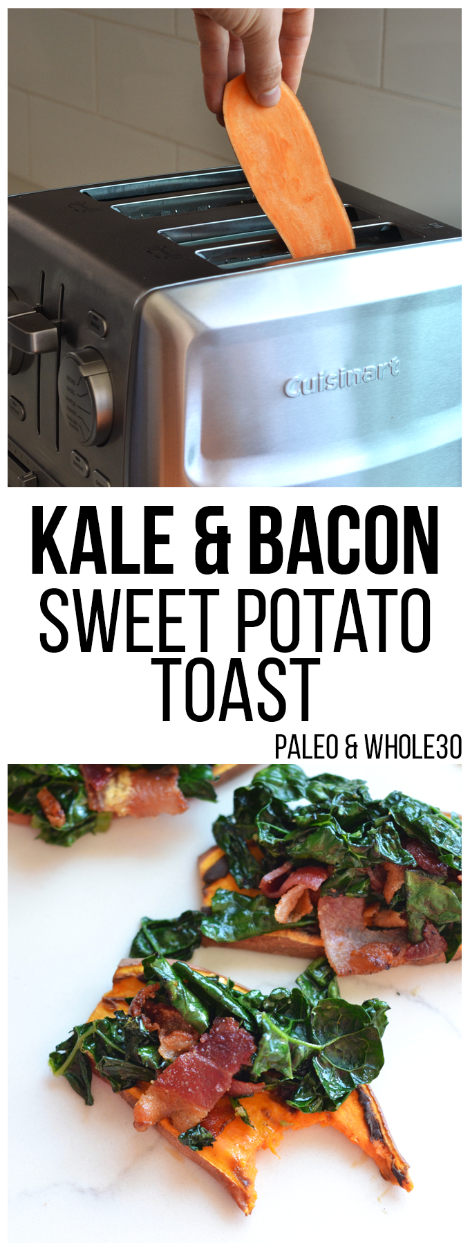 This Bacon Kale Sweet Potato Toast is perfect for breakfast or a snack - Whole30 and Paleo but a dish that everyone will love!