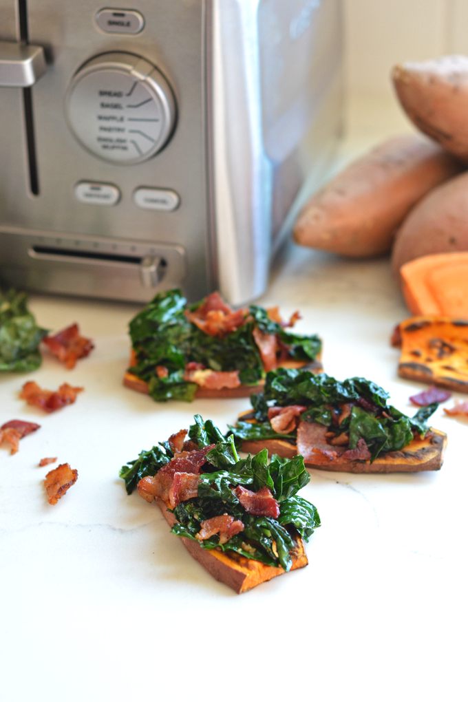 This Bacon Kale Sweet Potato Toast is perfect for breakfast or a snack on your Whole30! Takes one pan to make and you have a well balanced meal!
