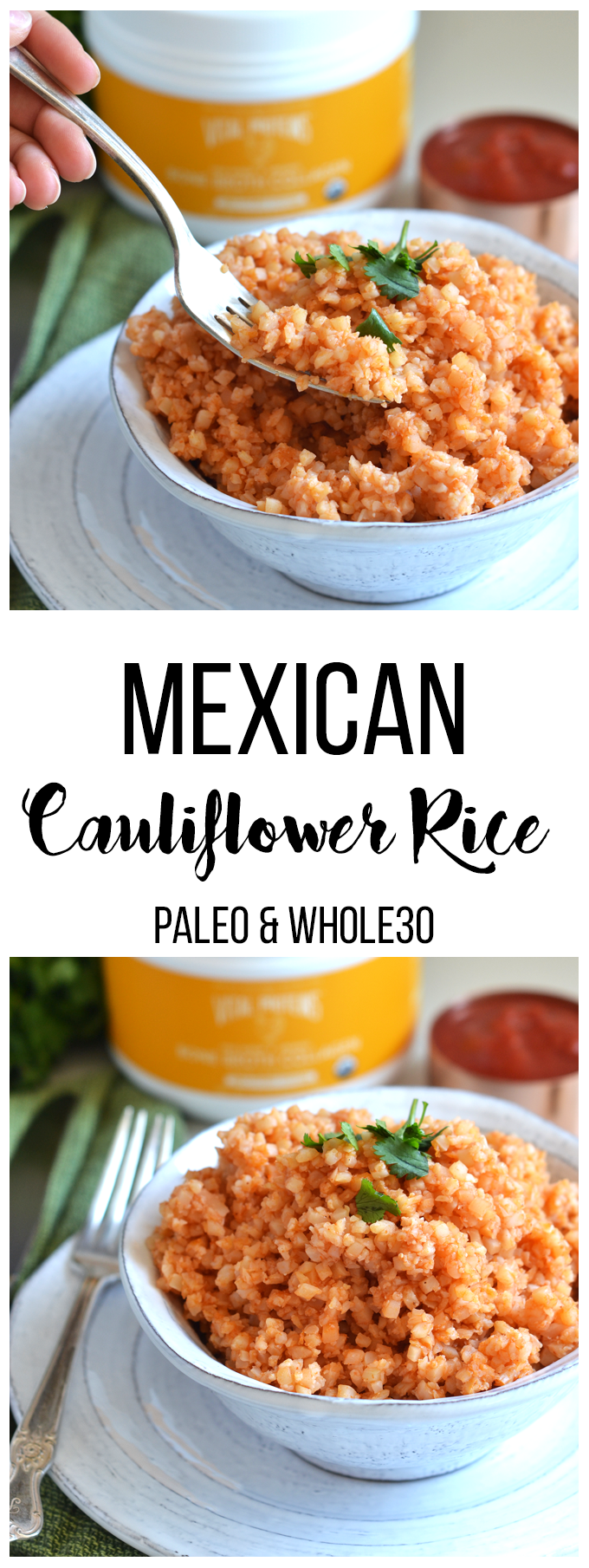 This Mexican Cauliflower Rice is the perfect way to enjoy the authentic mexican rice flavors with a healthy and paleo twist!