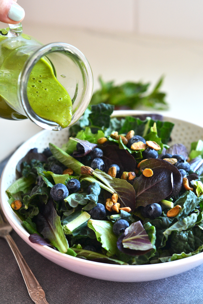 This Sweet Basil Dressing is Paleo compliant and sweetened with dates! Perfect for salad or pouring over chicken!
